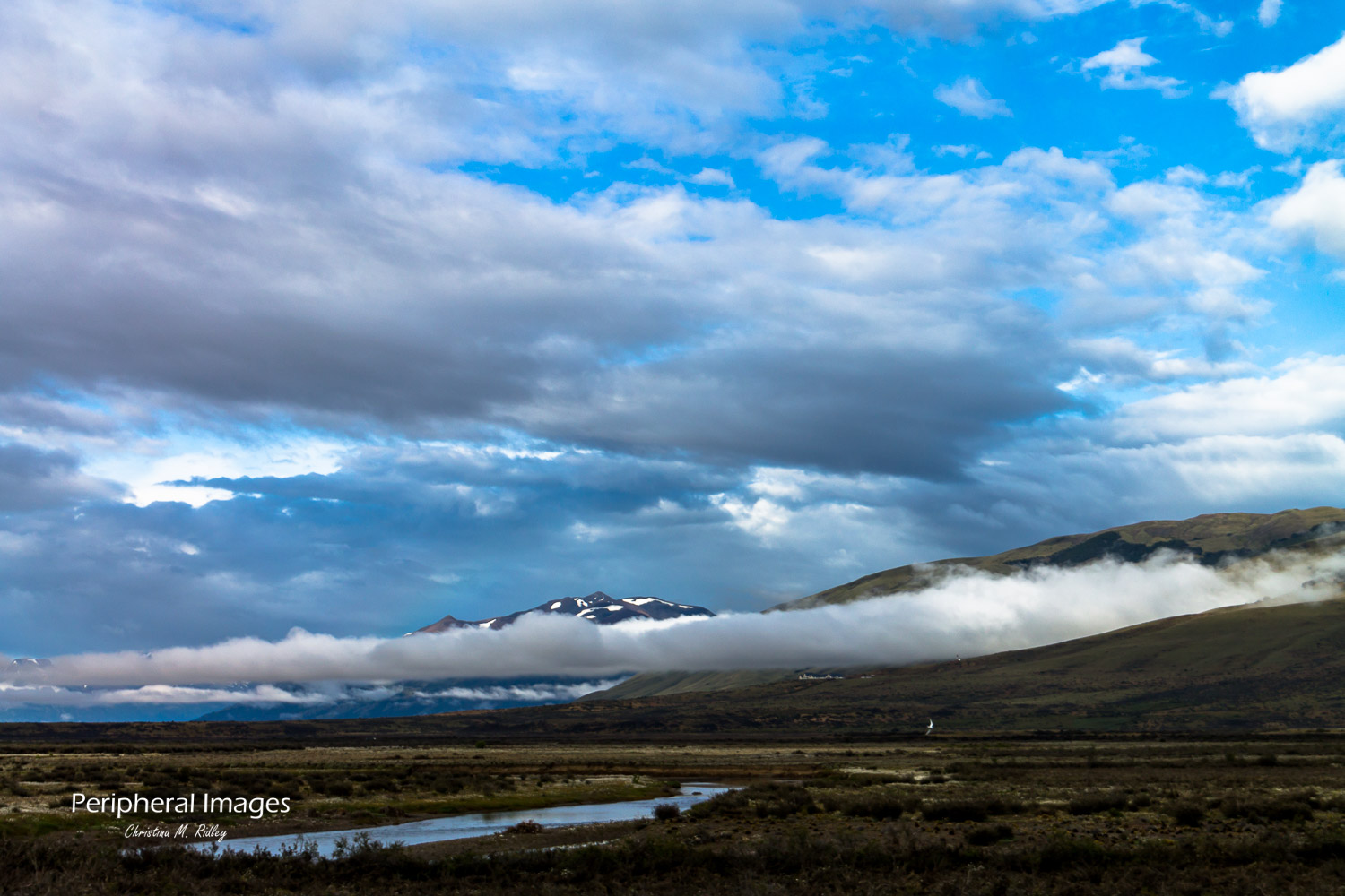 Snow capped Andes and blue skies- Patagonia Argentina