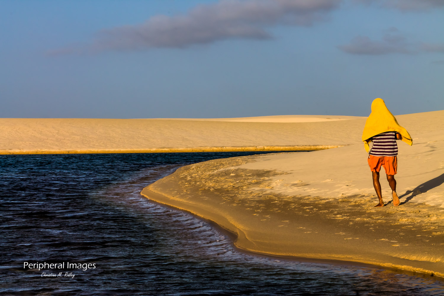 Man Walking Along Sand Dunes- Lencois Maranhenses Brazil