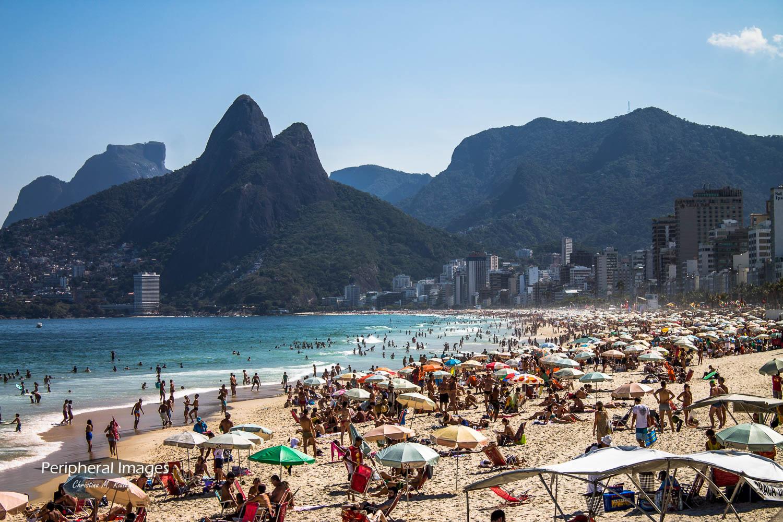 Crowded Ipanema Beach - Rio de Janeiro Brazil