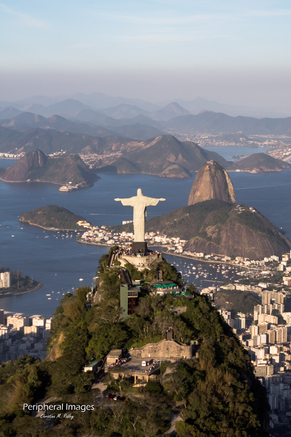 Aerial Photo of Sugarloaf and Christ the Redeemer- Rio de Janeiro Brazil