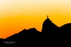 Dramatic Sunset Silhouette of Christ the Redeemer- Rio de Janeiro Brazil